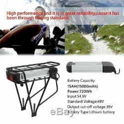 Batterie Li-Ion 48V 15Ah 2pôles + Porte-Bagages + Chargeur pour vélo électrique