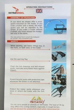 NEUF Remorque type Roue pour Velo, VTT, EXTRAWHEEL, + porte bagage optionnel