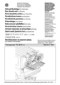 Original VW T6 Support Barres de Toit Vélo (4 Vélos) pour Porte Coffre à Bagage