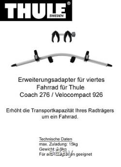 Thule Coach 276 Porte-Vélo pour 3 vélos + adaptateur pour 4. Vélo ^