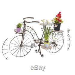 Vélo porte plante décoratif jardinière en bois chêne et fer forgé pour